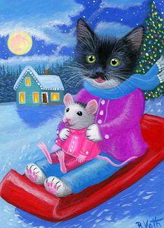 Tuxedo kitten cat mouse sledding snow moon Christmas original aceo painting art #Realism