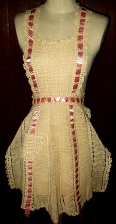 Vintage hand crochet apron with ribbon accent. SOLD