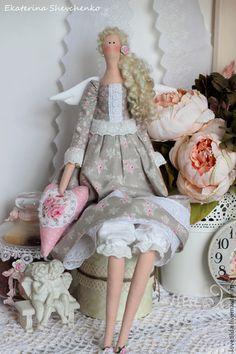 """Купить Ангел """"Виржини"""" - кукла в стиле Тильда - серый, розовый, тильда, кукла Тильда"""