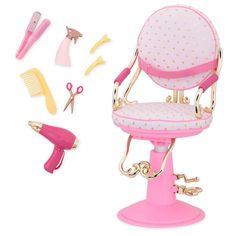 Twist, curl, braid, and style with the gold hearts Sitting Pretty Salon Chair for dolls! Your children can open their own Our Generation beauty parlour with this salon chair and accessories.
