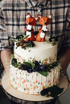 30 Must-See Rustic Woodland Themed Wedding Cakes ❤ woodland themed wedding cakes on the top 2 foxes cake decorated with leaves and berries pandora cake shop via instagram ❤ See more: http://www.weddingforward.com/woodland-themed-wedding-cakes/ #wedding #bride #weddingcakes #woodlandthemeweddingcake
