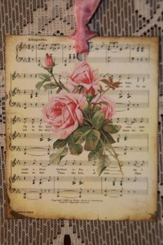Romantic Music Sheet Pink Roses Gift Tags via Etsy Shabby Chic Romantic Cottage 3 Shabby Chic Crafts, Shabby Chic Homes, Shabby Chic Decor, Sheet Music Crafts, Music Paper, Sheet Music Decor, Music Sheets, Papel Vintage, Vintage Crafts