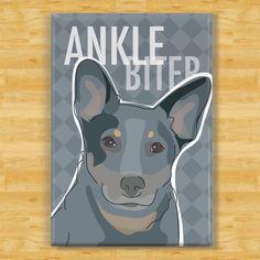 Blue Heeler Magnet - Ankle Biter - Queensland Heeler Dog Magnet. $5.99, via Etsy.