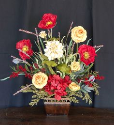 Silk poppy euphorbia arrangement the wizard of oz liked on red poppy silk floral arrangement fireplace mantel arrangement airy yellow red floral arrangement mightylinksfo
