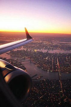 Flying into New York City.