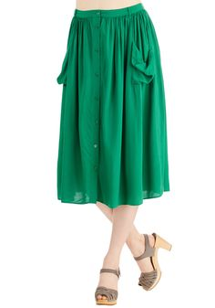 Just Dandy Skirt in Green. You always feel perfectly lovely in this kelly-green midi skirt - and rightfully so! #green #modcloth