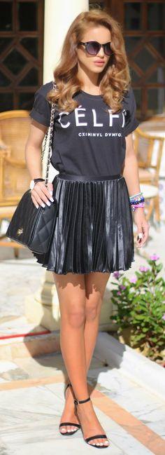 Criminal Damage Tee + Pleated Skirt