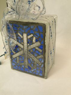 Mosaic snowflake Lighted Glass Block
