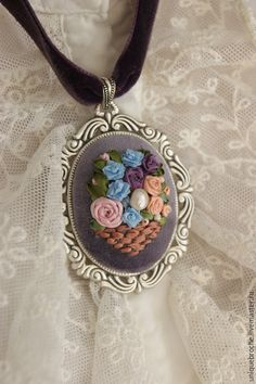 Silk Ribbon Embroidery, Cross Stitch Embroidery, Hand Embroidery, Embroidery Designs, Jewelry Wall, Handcrafted Jewelry, Handmade, Boyfriend Anniversary Gifts, Ribbon Work