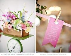 Pink and green flower decor
