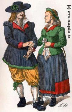 Nürnberg (Umgebung): Bauersleute in Hochzeitstracht, um 1670 #Mittelfranken