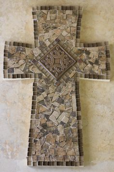 Tile mosaic cross for silent auction