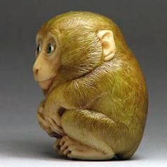 """""""It's Cold"""" The Monkey netsuke by Sergei Osipov. Go to web page to see 12 views/close-ups of the netsuke."""