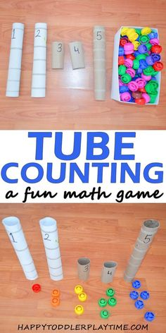 Tube Counting – HAPPY TODDLER PLAYTIME Number Recognition and counting activity Toddlers will be working on number sense and operations. They will be placing the correct number of blocks in each tub. Toddler Learning, Preschool Learning, Learning Activities, Toddler Counting, Preschool Math Games, Counting Activities Eyfs, Preschool Supplies, Cognitive Activities, Counting Games