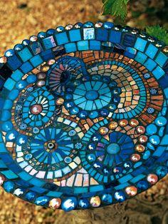 Blue Mosaic Bird Bath