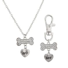 Lux BFF Best Friend Forever Dog Tag & Necklace Combo Collar Pave Bone Heart.  #LuxAccessories