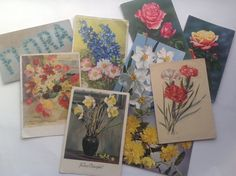 Vintage Postcards, Old Colour Images, Flowers Assemblage / Collage Supplies, Paper Ephemera, 9 items of Ephemera by gardenfullofVintage on Etsy