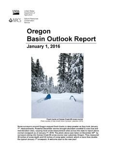 Oregon basin outlook report, by the United States Department of Agriculture, Natural Resources Conservation Service