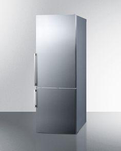 """Summit FFBF287SSIM 28"""" Bottom Freezer Refrigerator in Stainless Steel"""