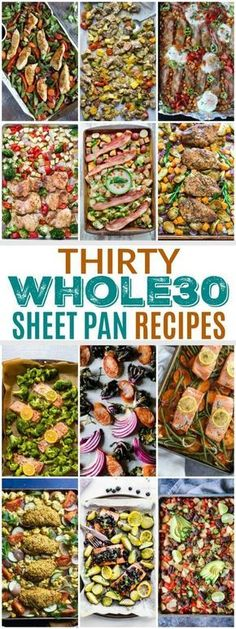 Healthy Meals These Thirty Sheet Pan Recipes make for the perfect weeknight meals. They're quick to prep and even quicker to cleanup. - These Thirty Sheet Pan Recipes make for the perfect weeknight meals. They're quick to prep and even quicker to cleanup. Healthy Dinner Recipes, Paleo Recipes, Whole Food Recipes, Cooking Recipes, Paleo Dinner, Easy Whole 30 Recipes, Healthy Weeknight Meals, Free Recipes, Cooking Pork