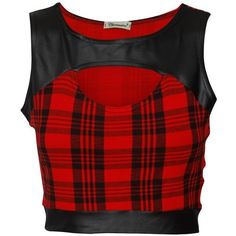 Cut Out Tartan Wet Look Detail Crop Top in Red (58 VEF) ❤ liked on Polyvore featuring tops, crop tops, shirts, cut-out tops, red crop top, cutout crop top, shirts & tops and red top
