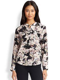 Giambattista Valli Floral Print Silk Blouse   Top and Clothing