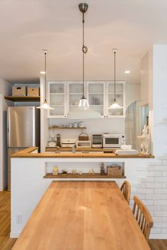Kitchen island ideas for inspiration on creating your own dream kitchen. diy painted small kitchen design - with seating and lighting Best Kitchen Designs, Modern Kitchen Design, Interior Design Kitchen, Kitchen Living, Kitchen Decor, Big Kitchen, Kitchen Ideas, Muji Home, Japanese Home Decor