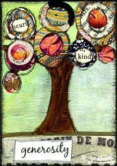 Mixed Media Art: Generosity Spiritual Tree -