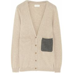 Chinti and Parker Contrast-pocket cashmere cardigan ($460) ❤ liked on Polyvore
