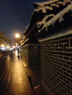 Snow on the Hanok Village, Jeonju, South Korea