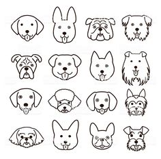Dog Face Drawing, Dog Drawing Simple, Cute Dog Drawing, Drawing Faces, Dog Line Art, Dog Art, Tier Doodles, Sketch Note, Face Lines