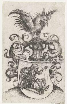 Meester van het Amsterdamse Kabinet | Wapenschild met oude garenspinnende vrouw, Meester van het Amsterdamse Kabinet, 1488 - 1492 | Wapenschild met daarop een oude vrouw met een spinnewiel. Boven het wapenschild bladranken, een helm en een krijsende vogel.