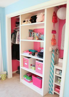 Ditch those annoying bifold closet doors, leave the closet open, and paint it a fun color