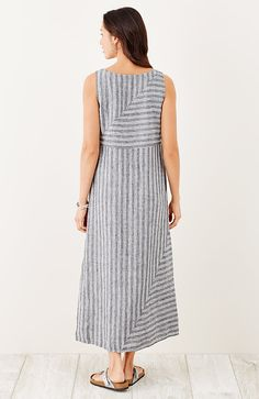 long striped linen dress