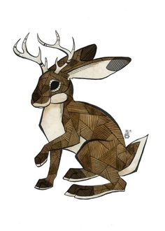 Hey, I found this really awesome Etsy listing at https://www.etsy.com/listing/209049284/jackalope-art-print-w-mat
