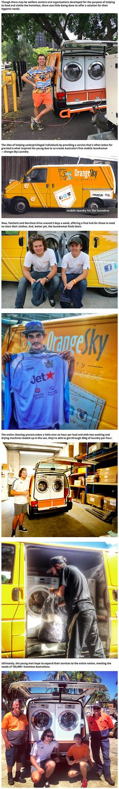 Two ingenious 20-year-old good Samaritans created a brilliant way to help the homeless – they've outfitted a van as a mobile laundromat to give the homeless the opportunity to clean their clothes safely. The two creators of the Orange Sky Laundry project, Lucas Patchett and Nicholas Marchesi, started with an old van and a generator. With the help of donations, they were able to secure two washing machines and driers, allowing their van to process 20kg of laundry an hour.