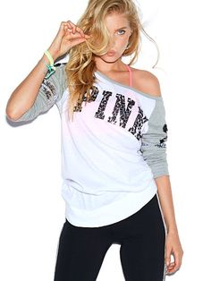 Bling Long Sleeve Raglan Tee PINK JR-328-785 (D46) Slightly slouchy and perfectly relaxed—this tee has cute dolman sleeves and sparkly bling graphics. Must-have tees by Victoria's Secret PINK. Relaxed, easy fit Wide neck Banded bottom Sleeve stripes Animal graphics Imported cotton/polyester