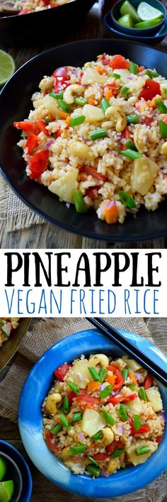 Eat the rainbow! Vegan fried rice with pineapple is a simple dish that can be prepared in only 15 minutes! Great for a quick weeknight dinner. Vegetarian and vegan friendly.