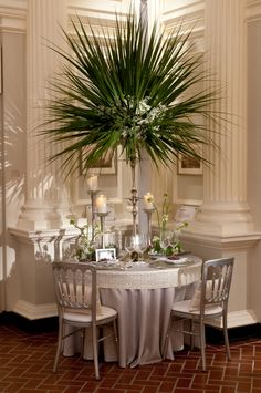 Designer: HMR Design Group   Linens: Silver Shantung with Custom White Garden Pearl Band #wedding #ideas