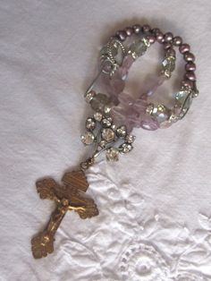 vintage assemblage repurposed jewelry necklace religious rosary earring crucifix amethyst pearl lavender atelier paris. $140.00, via Etsy.