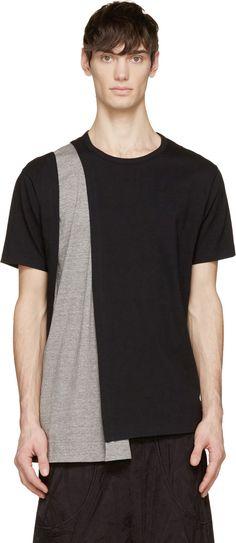 Visions of the Future: Yohji Yamamoto Black & Grey Inset Drape T-Shirt