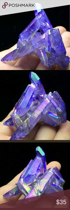 NEW exotic lavender titanium aura quartz crystal Gorgeous rare aura healing quartz chakra reiki Other