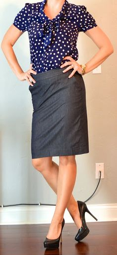 Outfit Posts: outfit post: polka-dot blouse, denim pencil skirt