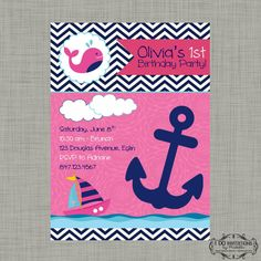 Girl Whale Nautical Birthday Invitation - Pink and Navy - Digital File on Etsy, $15.00
