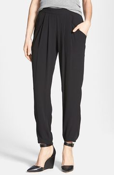 $258, Black Silk Pajama Pants: Eileen Fisher Ankle Length Silk Pants Black Large. Sold by Nordstrom. Click for more info: https://lookastic.com/women/shop_items/96787/redirect