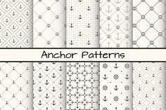 10 Anchor monochrome patterns by Svetolk on Creative Market
