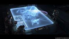 holo display, computer, war table, spaceship