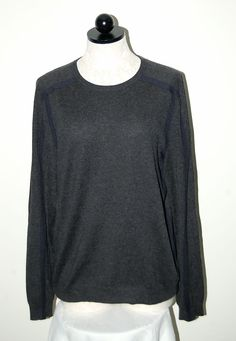 Theory Cashmere Silk Gray / Navy Blue Crewneck Sweater M #Theory #Crewneck