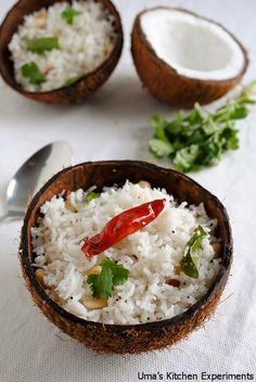 Coconut Rice / Thengai Sadam ~ My Kitchen Experiments indian food recipes Indian Food Recipes, Asian Recipes, Vegetarian Recipes, Cooking Recipes, Healthy Recipes, Rice Recipes, Indian Food Vegetarian, Healthy Food, Coconut Rice