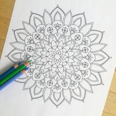 Mandala Shine Hand drawn Adult Coloring Page от MauindiArts